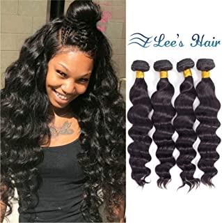 Loose Deep Wave Hair Weave Human Hair Bundles of Brazilian Hair 10A Unprocessed Loose Wave Bundles Remy Virgin Hair 4 Bundles Natural Color(16 18 20 22, 400g)