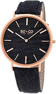 So & Co New York Soho Quartz Watch With Blue Dial Analogue Display and Blue Leather Strap 5103.5, For Unisex