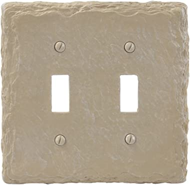 Amerelle Faux Slate Double Toggle Resin Wallplate in Almond