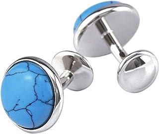 Fablcrew Naturel Turquoise Boutons de manchette n/œud Manchette Sleeve Button Chemises Boutons de manchette pour f/ête de mariage