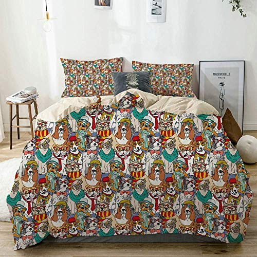 Qoqon Duvet Cover Set Beige,Hipster Bulldog Schnauzer Pug Breeds with Glasses Hats Scarf Pattern Colorful Cartoon,Decorative 3 Piece Bedding Set with 2 Pillow Shams
