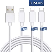 iPhone Charger 3Pack 10FT Cablex iPhone Charger Cable iPhone Charging Cable Cord Compatible iPhone Xs MAX XR X 8 8 Plus, iPhone 7 7 Plus 6 6s 6 Plus 6s Plus, iPhone SE 5 iPad, iPod and More(White)