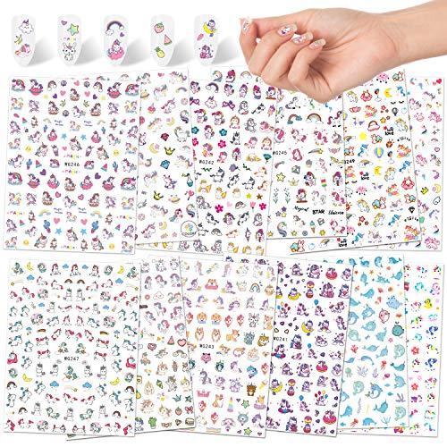 Qpout Einhorn Nagel Aufkleber Abziehbilder(1200 Designs),Selbstklebende 3D Nagelaufkleber Einhorn Regenbogen Diamant Nagel Dekoration für Kinder Mädchen Geburtstag Party Mitgebsel Nagel Salon Geschenk