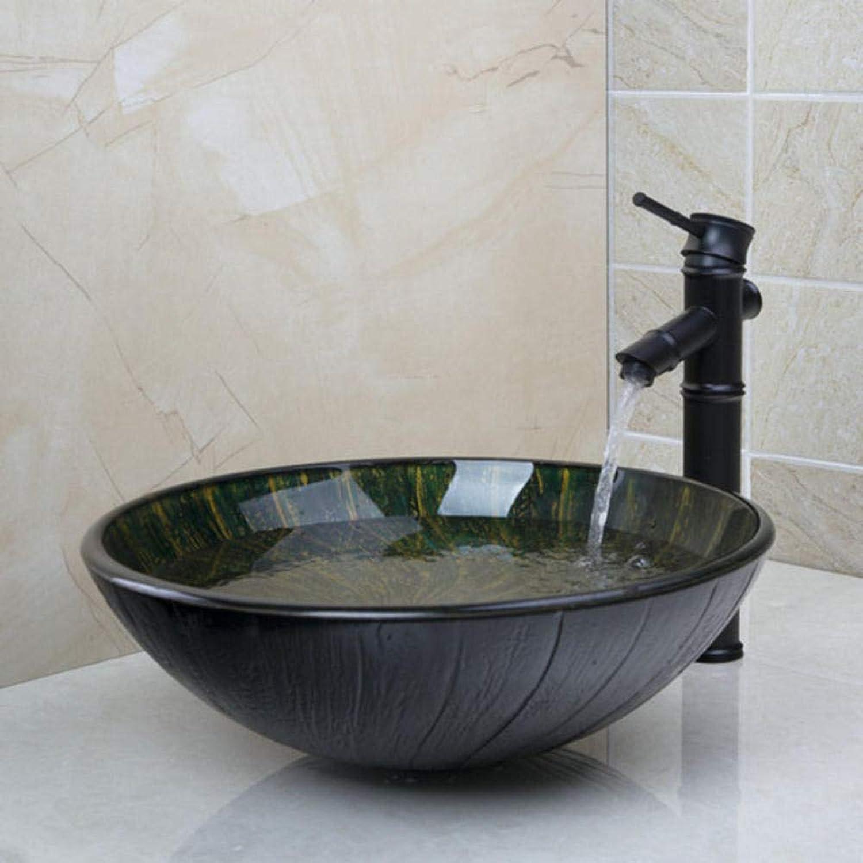 LLLYZZ BathroomTemperot Glas Waschbecken Waschbecken Mit l Eingerieben Bronze-Finish Wasserhahn Erschliet Bad Wasserablauf Bad Waschbecken Set