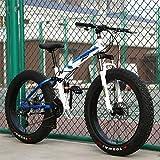 Adulto Fat Bike Bicicleta De Montaña Plegable,RNNTK Doble Absorción De Impactos Una Variedad De Colores Frenos De Disco Dobles Bicicleta De Trekking,Outroad Mountain Bike B -7 Velocidad -26 Pulgadas
