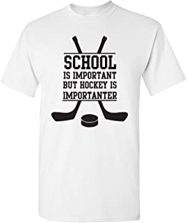 School is Important, But Hockey is Importanter - Funny Ice Hockey Varsity Sports Graphic T Shirt