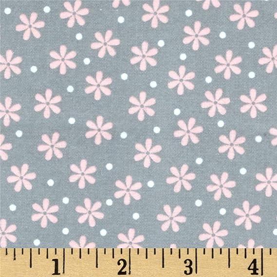Daisey Love pink garden flowers floral Kaufman flannel  fabric