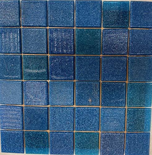 Cottoceram, Mod. Mix Azules Meeresblau. Glasmosaik auf 5 x 5 cm. Kleben auf Papier von 30 x 30 cm. Für Pool, Bad oder Dekoration.