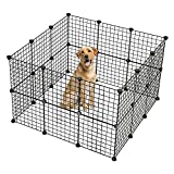 Savins gt1-DL Pet Playpen, Small Animal Cage Indoor Portable Metal Wire Yard Fence for Small Animals, Guinea Pigs, Rabbits Kennel Crate Fence Tent Black 24pcs (and 6pcs for Free)