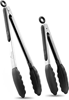 "Hotec Premium Stainless Steel Locking Kitchen Tongs with Silicon Tips, Set of 2-9"" and 12"""