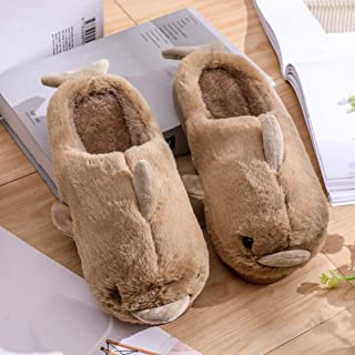 Cotton Slippers Female Cute Cartoon Indoor Non-Slip Thick Bottom Warm Home Dolphin Couple Cotton Slippers,E,35/36