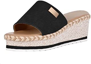 Womens Wedge Sandals Open Toe Leather Flat Sandals Bohemian Platforms Slide into Comfortable Ventilation Heel Non-slip Out...