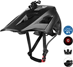 MOKFIRE Mountain Bike Helmet with USB Safety Light & Camera Mount Detachable Super Long Sun Visor for MTB Adult Cycling Bicycle Helmet for Women and Men - Size (22-24 Inches)