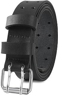 حزام جلدي كاجوال للرجال من PBF للجينز والسروال عرض 1 1/2 بوصة أسود بني أسمر