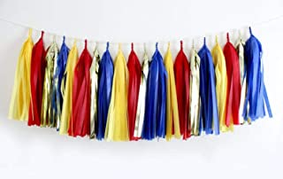 4 Pack 20 Pcs 14 inch Red, Yellow, Blue, Gold Tissue Paper Tassel Garland- Animal Paw Party Decor,Wedding, Birthday, Bridal Shower, Baby Shower, Party Decorations