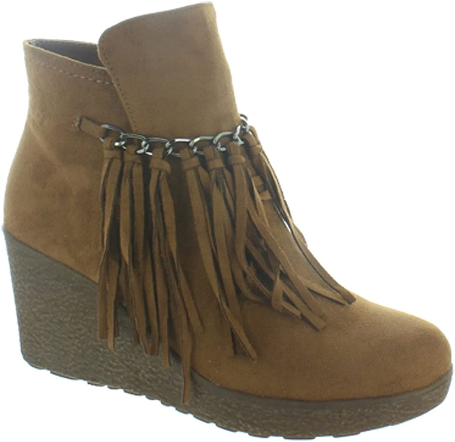 Pierre Dumas - Womens Candy-1 Wedge Fringe Ankle Bootie