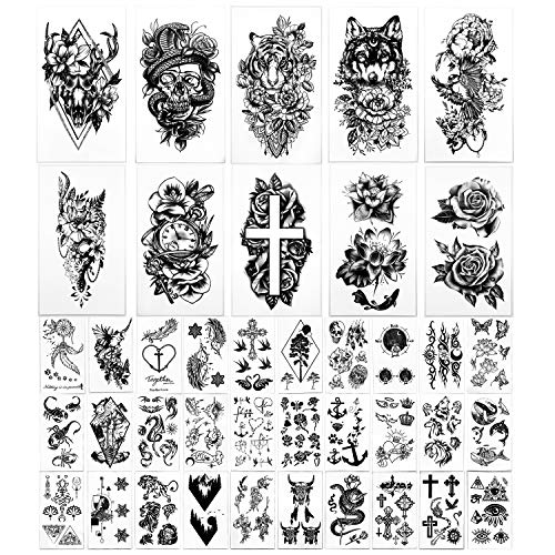 Yazhiji 40 sheets large sexy flowers collection waterproof temporary tattoos lasting fake tattoos for women and girls.