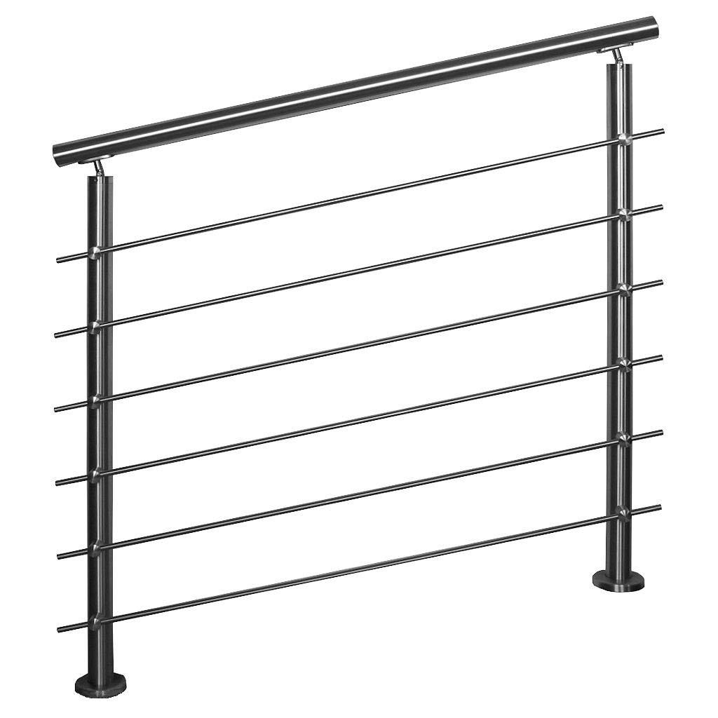 Barandilla de acero inoxidable para balcón, terraza, escalera con variante de puntales horizontales: con 6 varillas: 0,8 m de longitud, incluye 2 postes.: Amazon.es: Bricolaje y herramientas
