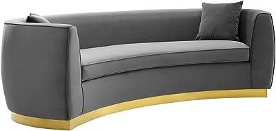 Modway Resolute Curved Performance Velvet Sofa, Gray
