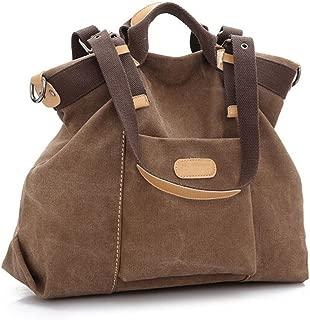 Ecokaki(TM) Casual Canvas Ladies Tote Bag Large Travel Purse Hobo Handbag Shoulder Bag Shopping Bag, Brown