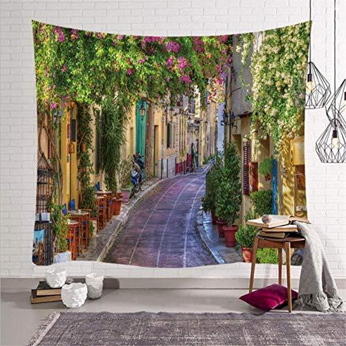 AdoDecor Tapeçaria de parede paisagem urbana arte casa tapeçaria na cidade antiga, Toscana, Itália, tapeçaria para pendurar na parede 150 x 130 cm