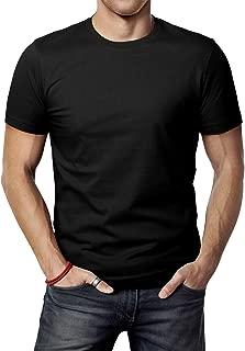 Mens Casual Slim Fit Short Sleeve T-Shirts Cotton Blended Soft Lightweight V-Neck/Crew-Neck