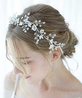 FXmimior - Elegante accessorio per capelli da sposa, fatto a mano, con strass, stile vintage, accessorio per capelli, acce...