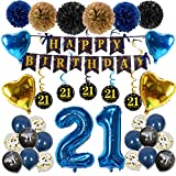 21st Birthday Decorations, Cefanty 21st Birthday Party Supplies with Confetti Balloons, Banner, Paper Pompoms and Hanging Swirl