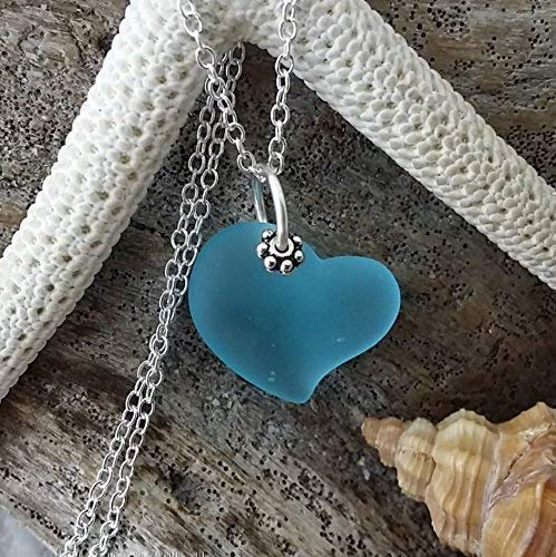 "Handmade in Hawaii,""Heart of the Sea"" Blue sea glass necklace,"