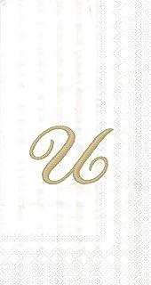 "Ideal Home Range 96 Count Stripes Again Monogram Letter U Paper Guest Towel Napkins, 8.5"" x 4.5"""