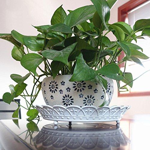 JM Corbeille à fruits en fer forgé style européen maison mode plateau de rangement bureau bureau fleur support rond fleur pot plateau