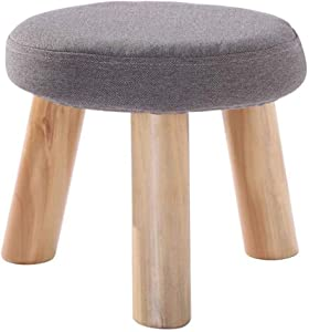 Carl Artbay Wooden Footstool Gray Three Legged Stool Round Cotton Linen Cloth Shoe Shoes Washable Household Home