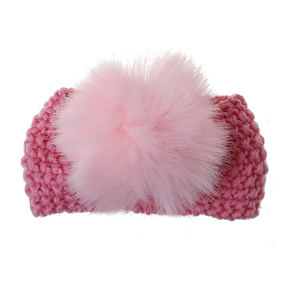 Horoshop Baby Girl Knit Warm Headbands Fashion Head Wrap for Newborn,Toddler and Childrens Christmas Gift (Pink)