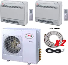 YMGI Two Zone - 36000 BTU 2 Zone 18000+18000 Floor Mount Ductless Mini Split Air Conditioner Heat Pump with 25 Ft Lineset Installation Kits