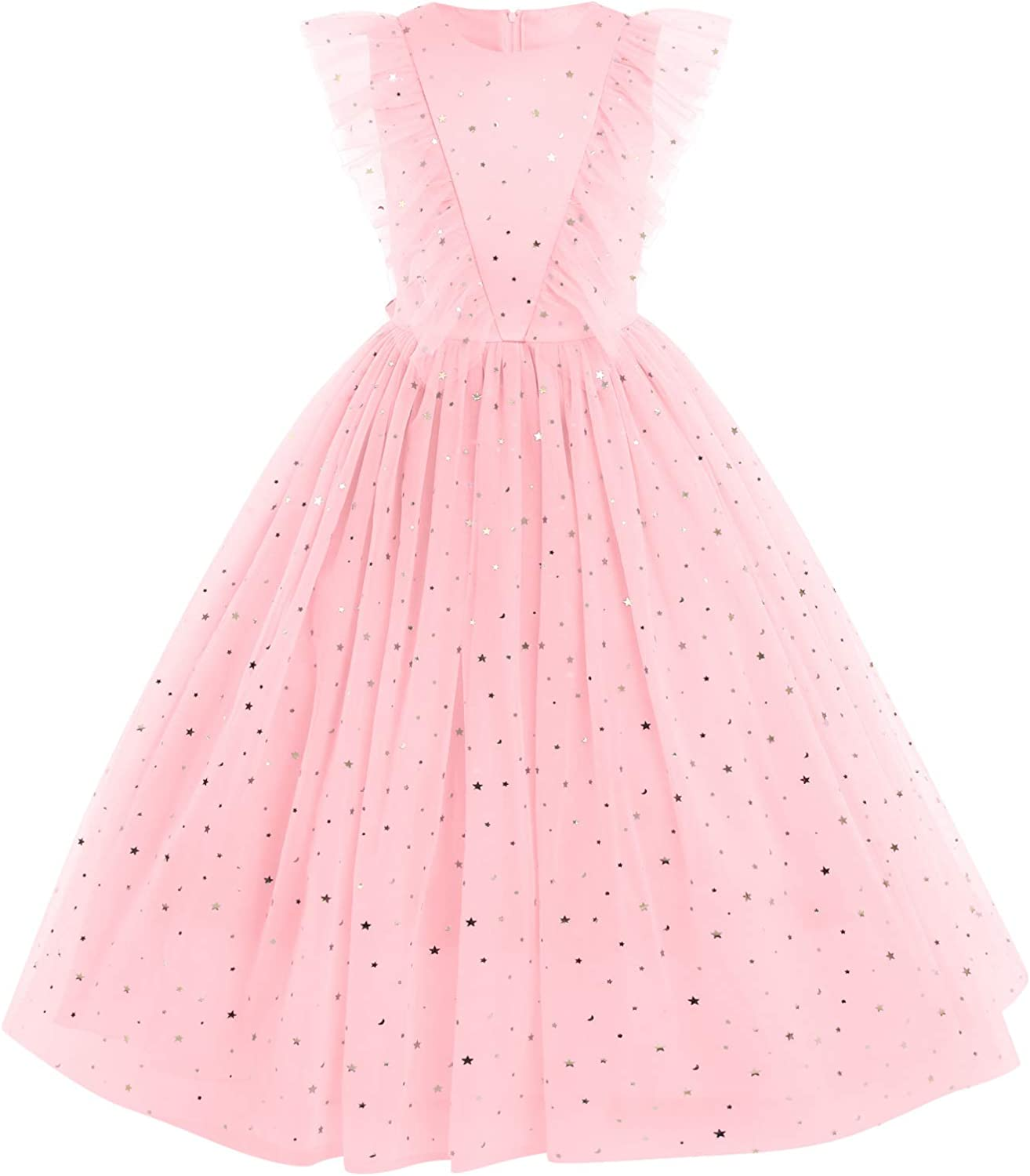 Flower Girls Princess Floral Boho Lace Embroidered Star Pageant Dresses for Kids Baby Party Wedding Puffy Communion Maxi Gown