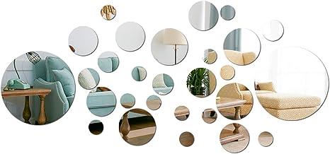 aooyaoo Solid Circle Wall Stickers Circle Mirror DIY Living Room/Bedroom/Decoration 28pcs Silver