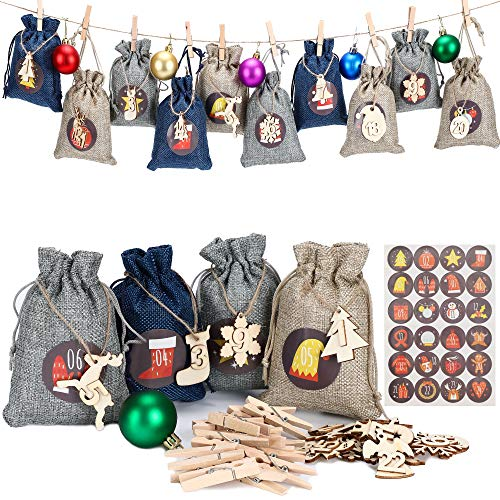LessMo 24 Days Advent Calendar Bags 2020, Burlap Hanging Garland Candy Bags, Reusable Countdown Bag Set with Clips Hemp Rope and Drawstring, for Christmas Party Favor Supplies Wall Home Decor