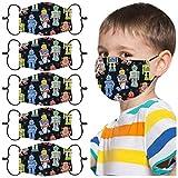 Honestyi 5-Stück Einweg-Mund-Nasen Abdeckung Kinder Mundschutz Halstuch Mundschutzhülle Gesichtsabdeckung für Jungen und Mädchen Niedlicher Cartoon 3-lagiger