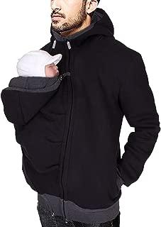 Womens Kangaroo Fleece Solid Sweatshirt Hoodie Jacket Coat Dad Baby Carrier for Men Women