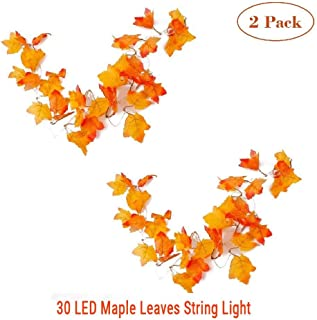 MKLOT 2pc Thanksgiving Decorations Lighted Fall Leaf Garland Halloween Decor String Lights 3M 30 LED Maple Leaves Lighting with 3 AA Battery Operated for Indoor Home Party Christmas Festival