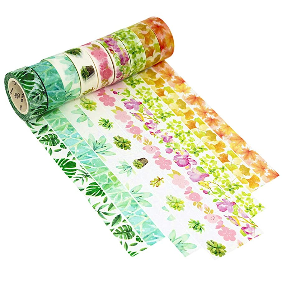 Dawnzen 9 Rolls Vintage Floral Washi Tape Set Decorative Masking Japanese Adhesive Paper Tapes for Scrapbooking Arts Crafts, Journaling Calendar, Gift Wrapping, Room Decorative - Flower Leaf