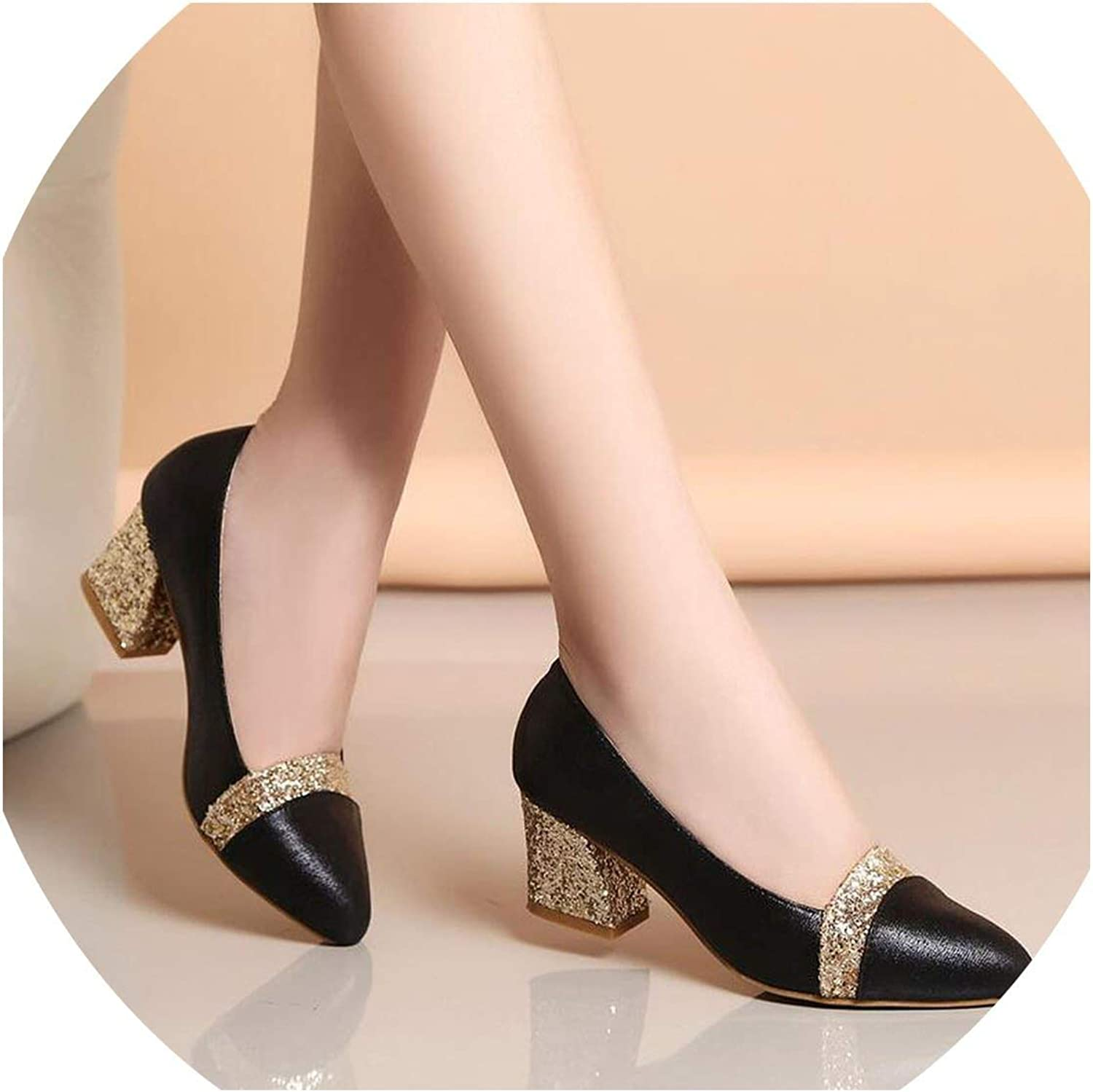 2019 Women Pumps Sweet Style Square High Heel Sequins Pointed Toe Spring and Autumn Elegant Shallow Ladies shoes Size 34-41