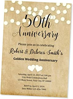 50th Wedding Anniversary Invitation, String of Lights 50th Anniversary Invites, Custom Personalized 50th Anniversary Invitations