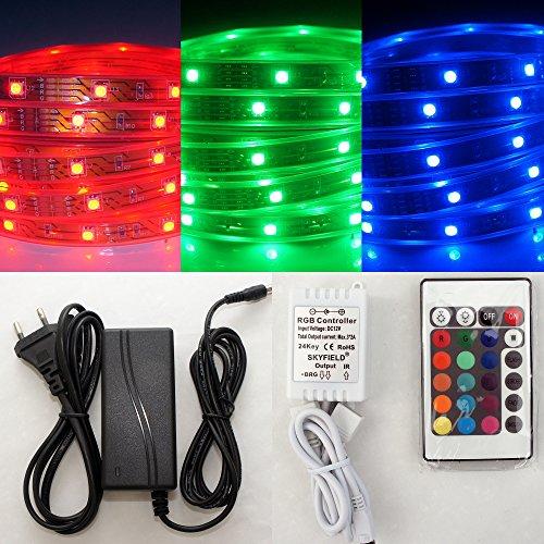 SKYFIELD IP67 4m, LED RGB Leiste im Silikonschlauch, wasserdicht inkl. IR Controller mit 24 Tasten FB, Netzteil.
