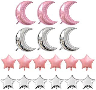 KEYYOOMY Crescent Moon Shaped Mylar Balloons 36 inch Moon and Star Party Balloons Pack of 18 for Birthday Party Anniversary Celebrate Parties Wedding Baby Shower Decorations (Pink and Silver)
