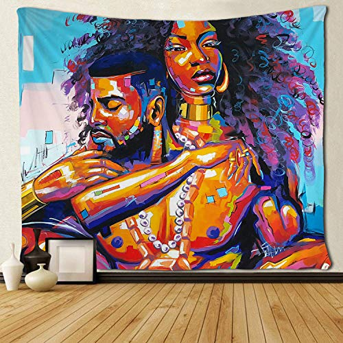 "SARA NELL Tapestry African American Lovers Couple Oil Painting Tapestries Wall Art Hippie Bedroom Living Room Dorm Wall Hanging Throw Tablecloth Bedspread 50""¡Á60"