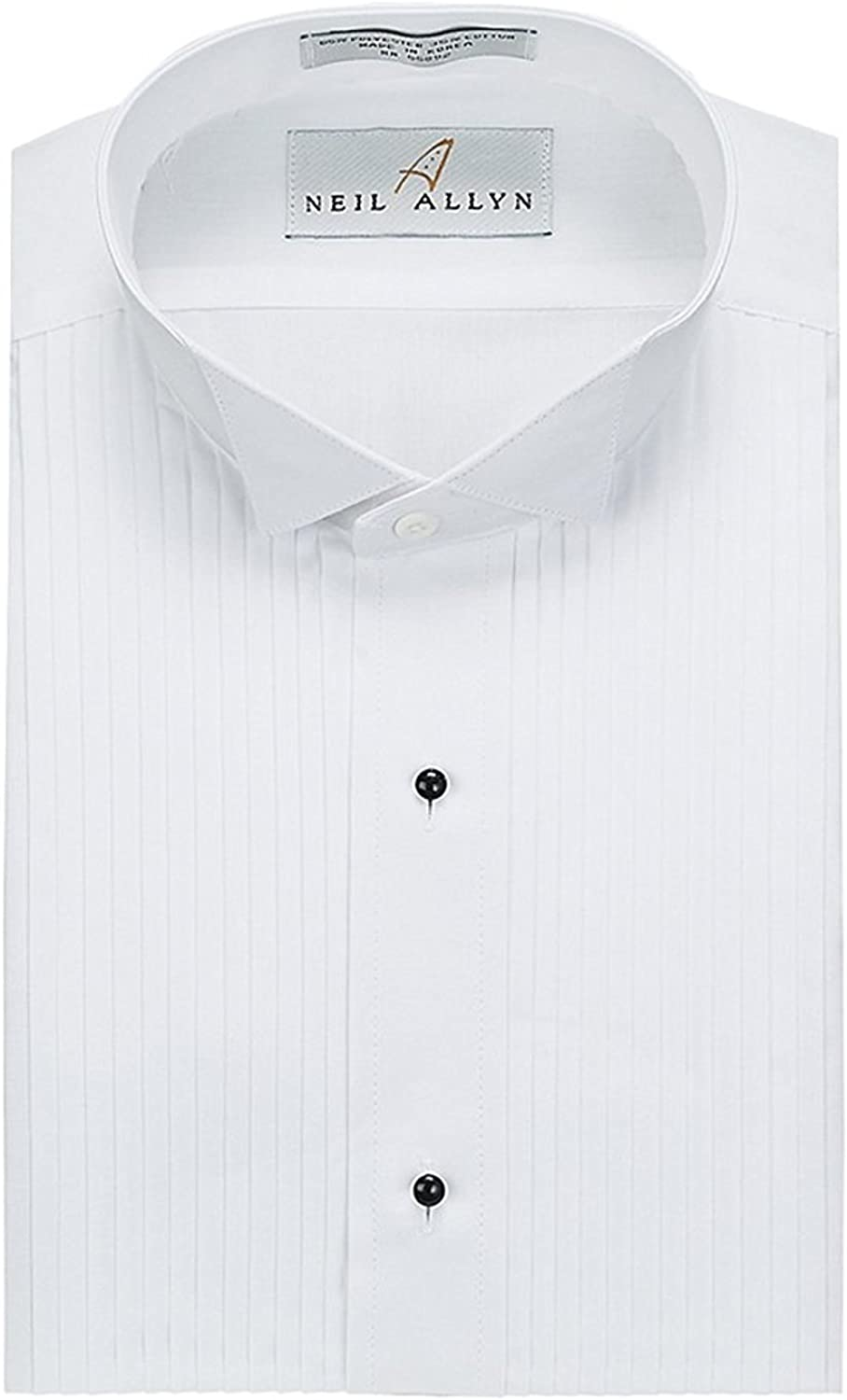 Neil Allyn Slim Fit Tuxedo Shirt - 100% Cotton Wing Collar with French Cuffs,White,X-Large (17) Neck 34/35 Sleeve