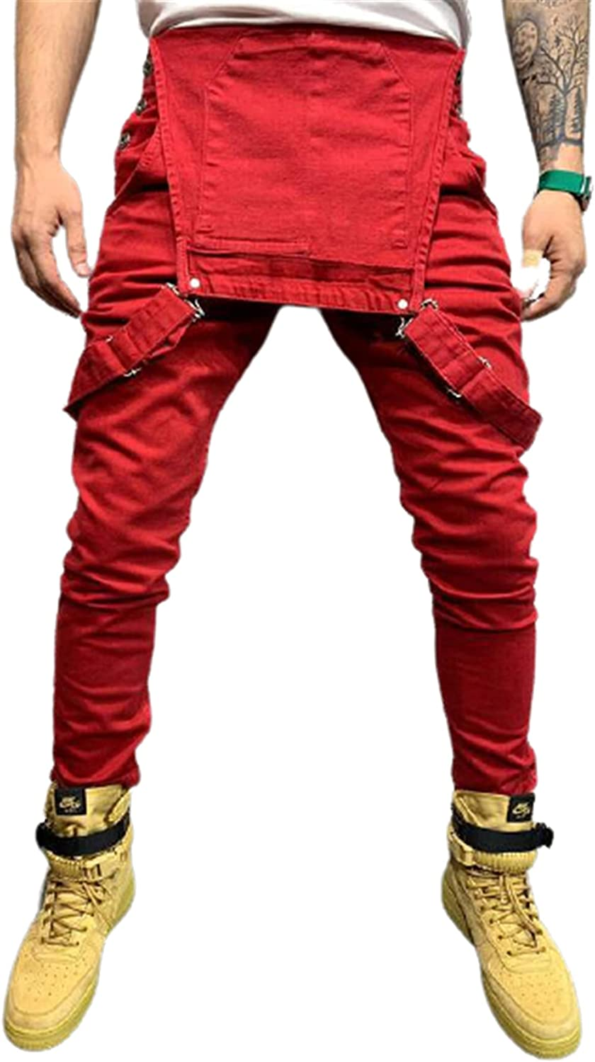 CNBPLS Men's Solid Color Denim Overalls,Sexy Slim Skinny Overall,Suspender Romper Trousers Jeans