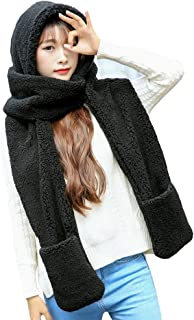 Womens Cute Winter Thick Warm Long Hooded Scarf with Mittens