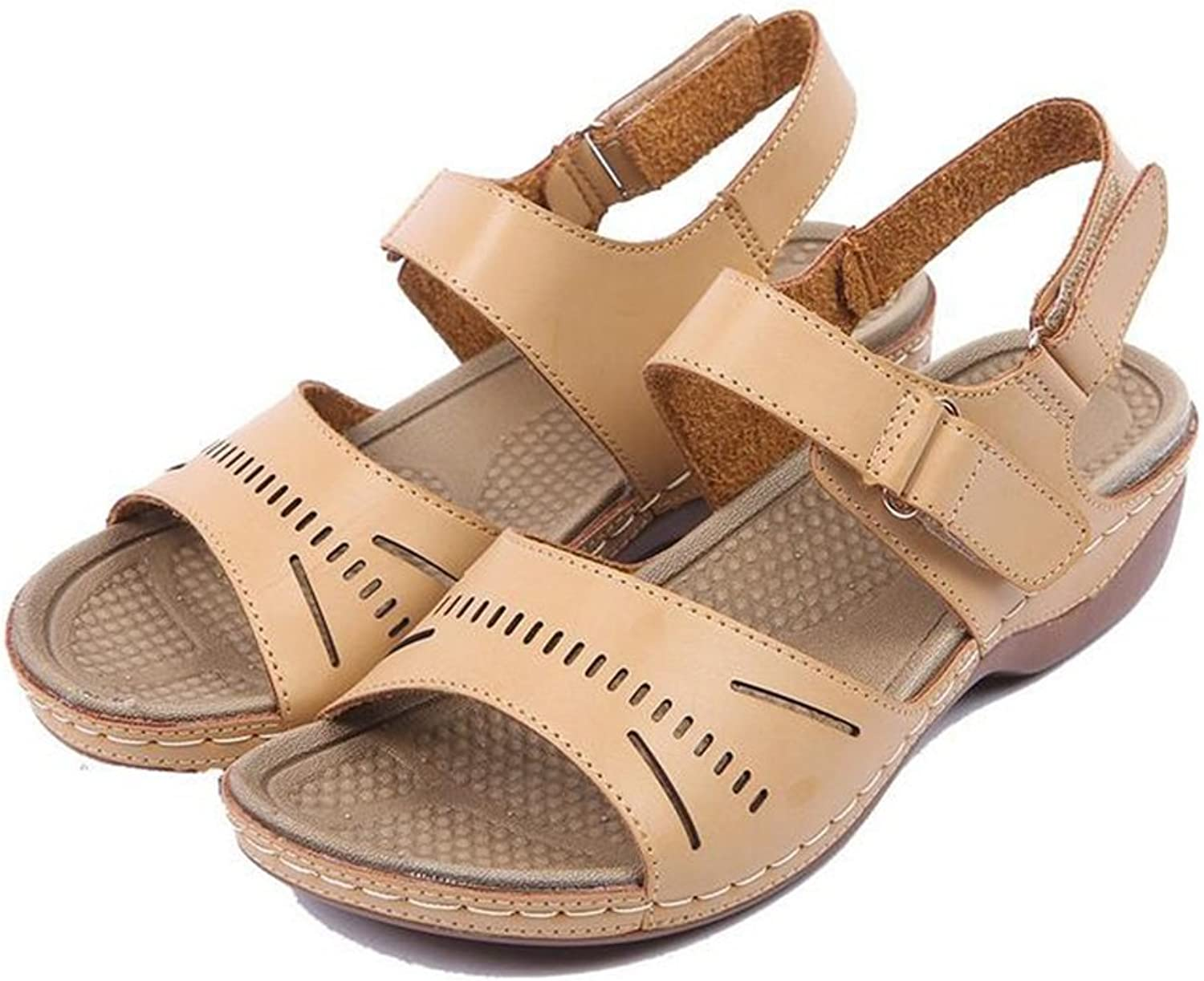 Women's shoes PU(Polyurethane) Spring Summer shoes Velcro Sandals Walking shoes Low Heel Wedge Heel Round Toe Mom shoes